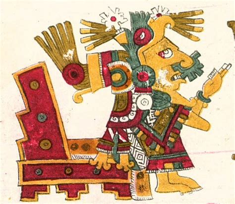 A drawing of Xochiquetzal, one of the deities described in