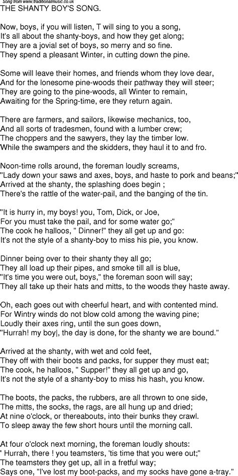 Old Time Song Lyrics for 07 The Shanty Boys Song